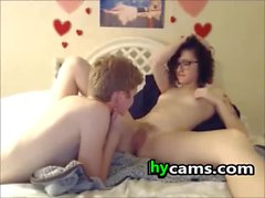 Nerd Lesbian teens Licking pussy