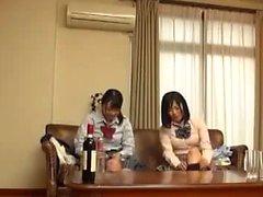 Asian giapponese Trio Creampie e Eiaculazione