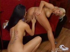 Two hot busty lesbian babes eat pussy and use a strapon to fuck