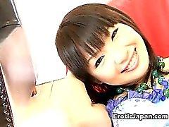 Good looking Japanese doll Akane Oozora getting hairy quim