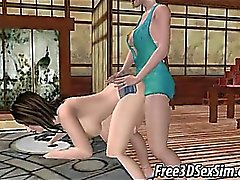 Two sexy 3D cartoon shemale babe getting it on