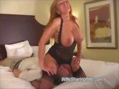 Miami Otel BBC tarafından tüm Holes hotwife Fucked ve Anal Creampied