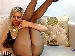 Dirty Blonde MILF With Pantyhose On