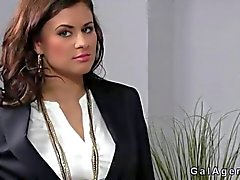 Tanned female agent fucked in her office