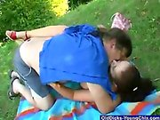 Outdoors Old Man Titty Sucking