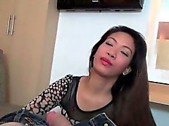 Filipina Plays with Herself and Sucks Cock