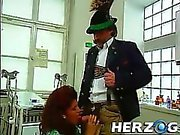 Hot slut blows some old bavarian peasant