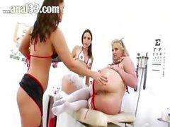 Three ass nurses licking prolapse ass