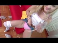 Cute blonde strips and masturbates xandfun