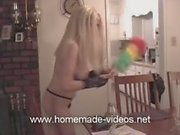 Amateur blonde Crystal cleans house in maid outfit then naked