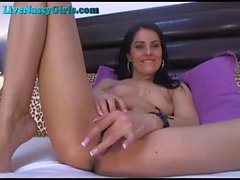 Hot Brunette Webcam Girl Masturbates To Orgasm