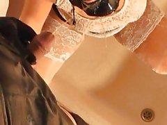 Amateur tranny fucks and pees on masked girl
