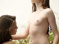 Rossy Bush and Dominique passionate lesbian sex outdoors