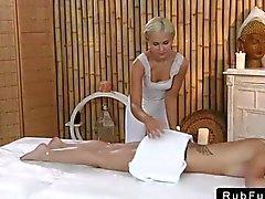 Tattooed back brunette gets massaged
