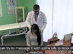 Doctor fucks hot brunette patient on his desk