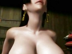 Грудастая Animated Babe получении горячей сперматозоиды