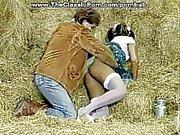 Porn vintage sex on a hey