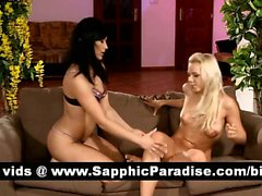 Alica and Nikol brunette and blonde lesbos licking and fingering pussy