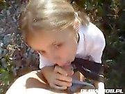 Aga polish schoolgirl hitch-hiker sucks dick in field