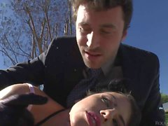 Here's outdoor anal action with sexy brunette Adriana Chechik. Babe