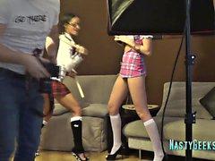 Anastasiya och Clara-remsan för kameran