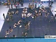 Grupo enorme subtítulo de nudistas palavra japonesa arte