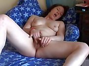 Horny Chubby Brunette Girlfriend rubbing her Hairy Pussy
