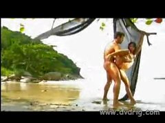 Exotic Brazilian Girl Arrives On A Tropical Island With Her Boyfriend And Has Sex Kneeling In Water And Sitting In Reverse Cowgirl To Give Him Better Access To Her Pussy