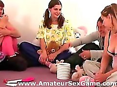 Real amateur group plays sexy party game