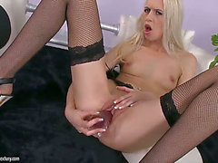 Nasty golden-haired Alexa Wild likes masturbating her constricted fur pie with biggest toy