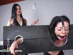 Merciless brazilian bdsm and lesbian whipping of 19yo amateur slave girl Demi