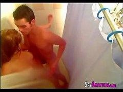 Banging a slut under the shower on spyamateur