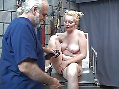 Master Len drills hot busty blonde on the table from behind