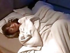 Horny wife fucked by friend and husband sleep on the bed