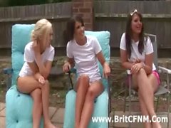 Three bad British CFNM girls strip guy and play with him