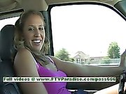 Pamela superb busty blonde chick driving a car and flashing tits