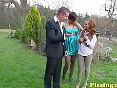 Pee fetish sluts outdoor threesome