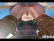 On the 3D pirate ship a hot 3D prisoner ho is sucking cock