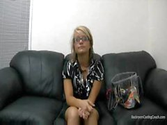 Blonde in glasses gets fucked hard and gets cum on glasses