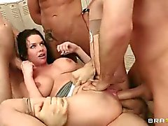 Veronica Avluv takes five cocks in the locker room