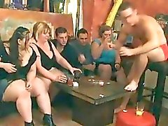Horny BBW bitches preparing for an orgy party