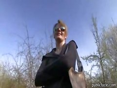 Real amateur Czech girl Meggie banged in public place for money