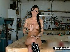 Hot brunette tattooed whore gets horny part5