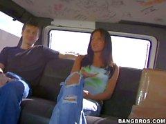 Amateur brunette Teen reveals her boobies in bang bus