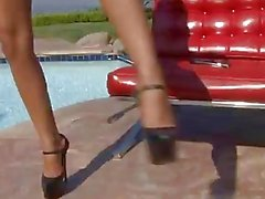 Mad Ivy makes herself cum by the pool