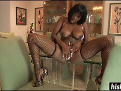 Black babe in fishnet stockings gets drilled