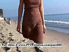 Di liliana ragazza bellissima brunetta cammina sulla spiaggia allora a una tabella