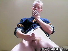 Handsome deviant Jason drips cum after stroking and smoking