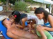 sleek gangbang with four girls and me