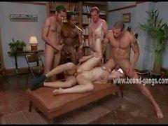 Hard cocks fill ass of ravaged sex slave
